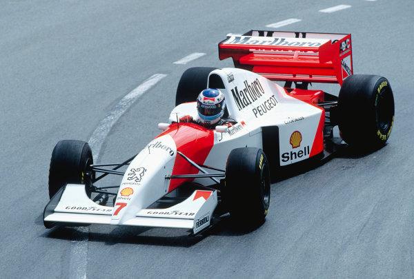 1994 Monaco Grand Prix. Monte Carlo, Monaco.  12-15 May 1994. Mika Hakkinen (McLaren MP4/9 Peugeot). Ref-94 MON 80. World Copyright - LAT Photographic