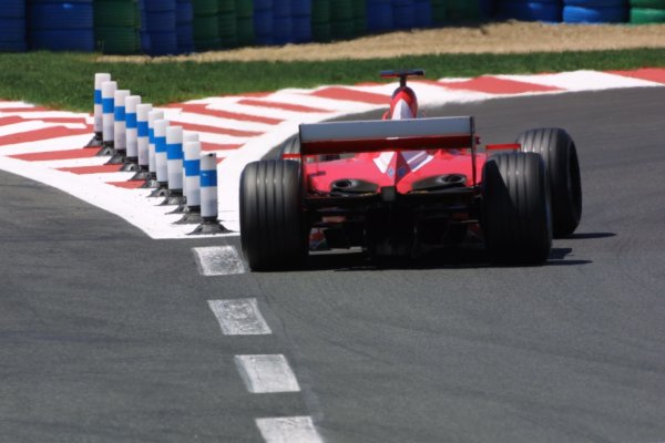 2001 French Grand Prix - RaceMagny-Cours, France. 1st July 2001Ferrari rear action.World Copyright - LAT Photographicref: 8 9 MB Digital File only