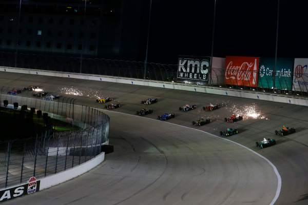 10-11 June, 2016, Fort Worth, Texas USA Sparks fly as the field heads into turn two ?2016, Phillip Abbott LAT Photo USA