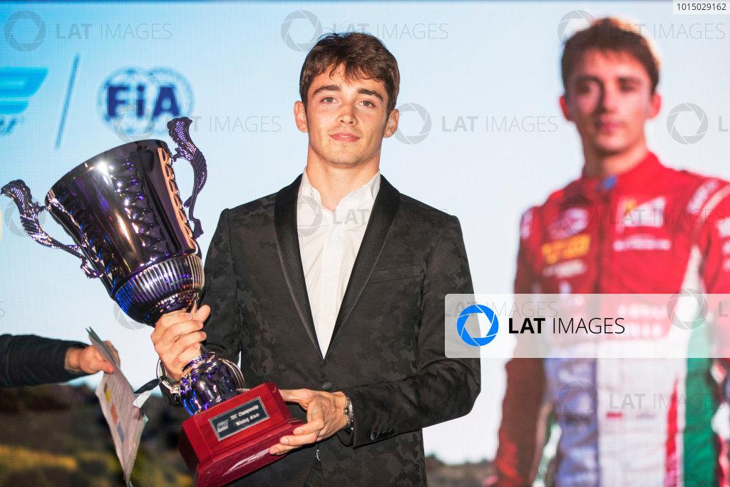 2017 Awards Evening. Yas Marina Circuit, Abu Dhabi, United Arab Emirates. Sunday 26 November 2017. Charles Leclerc (MCO, PREMA Racing).  Photo: Zak Mauger/FIA Formula 2/GP3 Series. ref: Digital Image _56I3922