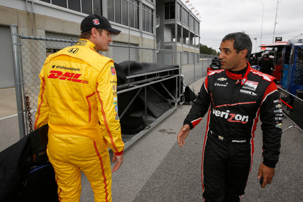 17-18  March, 2014, Birmingham, Alabama, USA Ryan Hunter-Reay and Juan Pablo Montoya © 2014, Michael L. Levitt LAT Photo USA