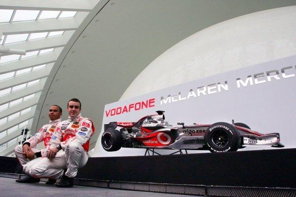 Lewis Hamilton (GBR) McLaren and Fernando Alonso (ESP) McLaren. McLaren Mercedes MP4/22 Launch, Ciudad de las Artes y las Ciencias, Valencia, Spain, 15 January 2007. DIGITAL IMAGE