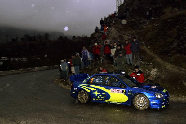 2004 FIA World Rally Champs. Round one, Monte Carlo Rally.22nd-25th January 2004.Mikko Hirvonen, Subaru, Action.World Copyright: McKlein/LAT