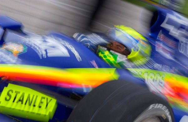 IRL IndyCar Series Bombardier 500 at Texas Motor Speedway, Ft Worth, Texas, USA 7 June,2003 Vitor Meira heads out of the pits.World Copyright-F Peirce Williams 2003 LAT Photographicref: Digital Image Only