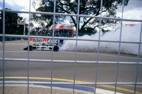 1986 Australian Grand PrixAdelaide, Australia. 24th - 26th October.Derek Warwick Brabham BT55 BMW blows up. Action.World Copyright: LAT Photographicref: 86 AUS 05