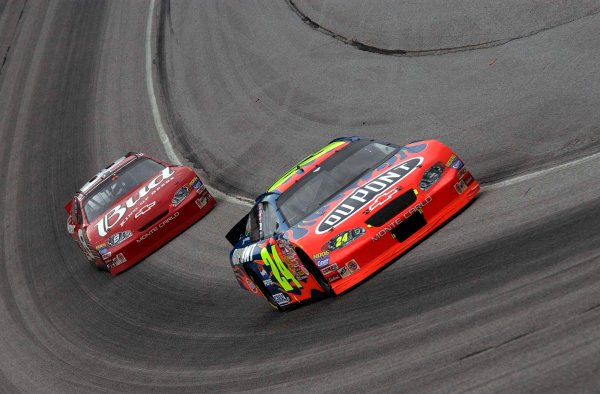 2003 NASCAR-Bass Pro Shops MBNA 500 at Atlanta,Oct 25-26Jeff Gordon leading Dale Earnhardt jr.-Robert LeSieur 2003LAT Photographic
