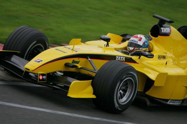 Nicky Pastorelli (NED) Jordan Toyota EJ15. Formula One Testing, Day 3, Silverstone, England, 28 April 2005. DIGITAL IMAGE