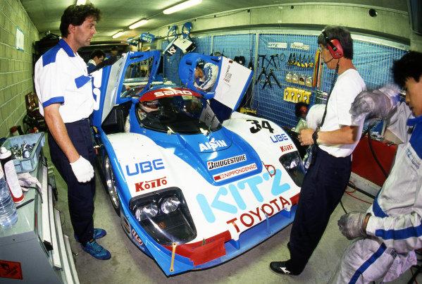 Roland Ratzenberger (AUT) / Eje Elgh (SWE) / Eddie Irvine (GBR) TOM's / Kitz Racing Team with SARD Toyota 92C-V, finished ninth. Sportscar World Championship, Rd3, 24 Hours of Le Mans, Le Mans, France, 20-21 June 1992.