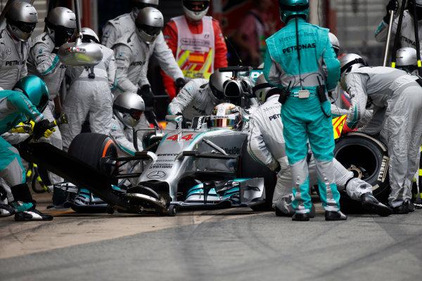 Circuit de Catalunya, Barcelona, Spain. Sunday 11 May 2014. Lewis Hamilton, Mercedes F1 W05 Hybrid, in the pits. World Copyright: Glenn Dunbar/LAT Photographic. ref: Digital Image _W2Q8062
