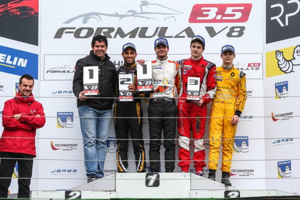 BUDAPEST (HUN) APR 22-24 2016 - Second round of the Formula V8 3.5 at the Hungaroring. Tom Dillmann #16 AVF, Roy Nissany #4 Lotus and Aurelien Panis #8 Arden Motorsport. Podium. © 2016 Diederik van der Laan  / Dutch Photo Agency / LAT Photographic