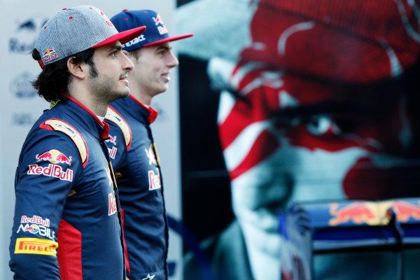 Circuit de Catalunya, Barcelona, Spain Tuesday 1 March 2016. Carlos Sainz Jr, Toro Rosso. Max Verstappen, Toro Rosso.  World Copyright: Zak Mauger/LAT Photographic ref: Digital Image _79P9294