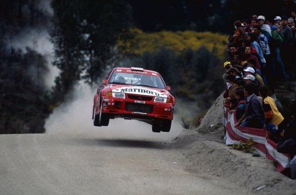 1999 World Rally Championship.Portuguese Rally, Portugal. 20-24 March 1999.Tommi Makinen/Risto Mannisenmaki (Mitsubishi Lancer Evo5), 5th position.World Copyright: McKlein/LAT PhotographicRef: 35mm transparency 99RALLY15
