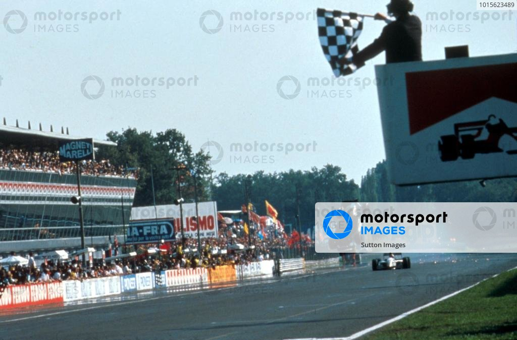 The Minardi Ford of Christian Fittipaldi (BRA) is launched  over his team mate Pierluigi Martini (ITA) at the end of the race. Fittipaldi landed right side up and crossed the finish line. Italian Grand Prix, Monza, Italy, 12 September 1993.