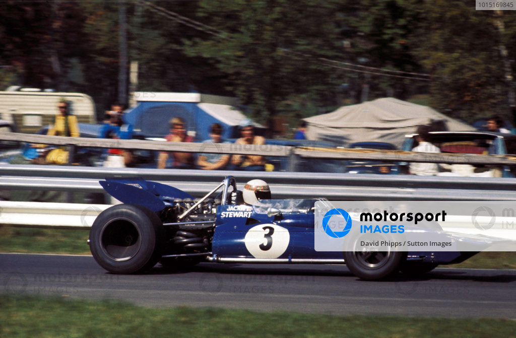 Jackie Stewart (GBR) debuted the Tyrrell 001 by setting pole position on the Saturday, but he retired on the thirty-second lap with a broken front left stub-axle.  Canadian Grand Prix; St Jovite, 20 September 1970. BEST IMAGE