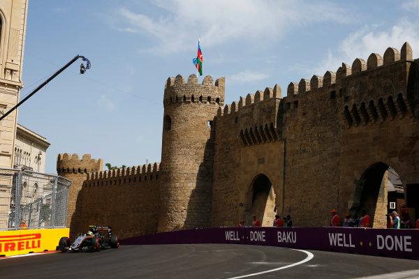Baku City Circuit, Baku, Azerbaijan. Saturday 18 June 2016. Sergio Perez, Force India VJM09 Mercedes. World Copyright: Andy Hone/LAT Photographic ref: Digital Image _ONZ1346