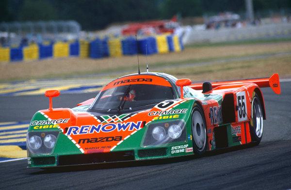 Le Mans, France. 22 - 23 June 1991. Volker Weidler/Johnny Herbert/Bertrand Gachot (Mazda 787B), 1st position, World Copyright: LAT Photographic