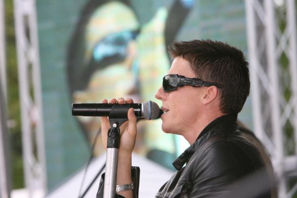 Donington Park, England. 18th June 2008.Preview Day.James Toseland sings with his band 'Crash' for the Donington Park crowd.World Copyright: Martin Heath/ LAT Photographicref: Digital Image