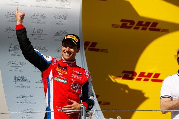 2014 GP3 Series. Round 8.   Sochi Autodrom, Sochi, Russia. Sunday Race 2 Sunday 12 October 2014. Patric Niederhauser (SUI, Arden International) on the podium. Photo: Sam Bloxham/GP3 Series Media Service. ref: Digital Image _G7C7681