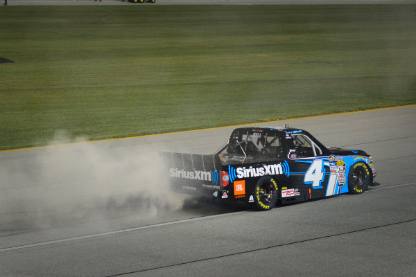 NASCAR Camping World Truck Series TheHouse.com 225 Chicagoland Speedway, Joliet, IL USA Friday 15 September 2017 Christopher Bell, SiriusXm Toyota Tundra celebrates with a burnout after winning the regular season championship World Copyright: Logan Whitton LAT Images