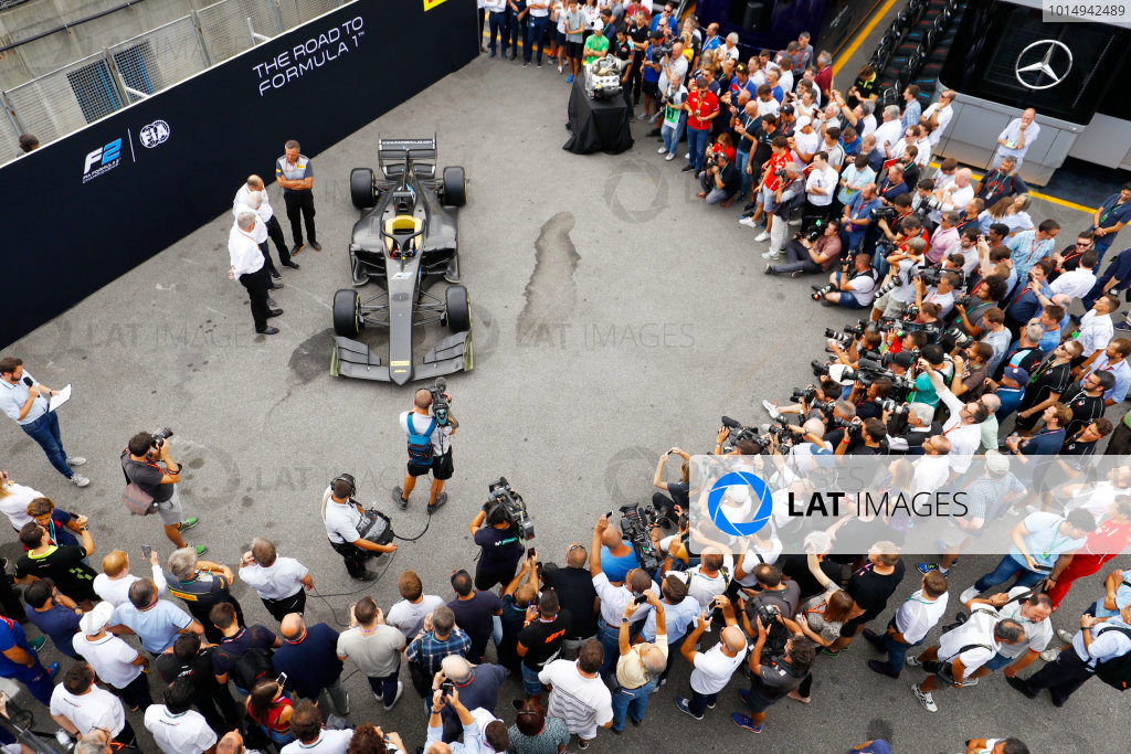 Autodromo Nazionale di Monza, Italy. Thursday 31 August 2017 The new F2 car is revealed to the media. Photo: Steven Tee/FIA Formula 2 ref: Digital Image _R3I1979