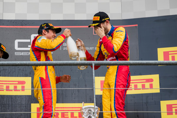 2017 GP3 Series Round 5.  Spa-Francorchamps, Spa, Belgium. Sunday 27 August 2017. George Russell (GBR, ART Grand Prix), Giuliano Alesi (FRA, Trident), Ryan Tveter (USA, Trident).  Photo: Zak Mauger/GP3 Series Media Service. ref: Digital Image _56I3153