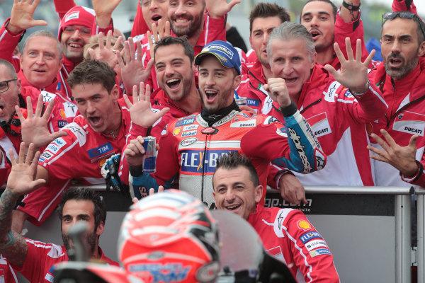 2017 MotoGP Championship - Round 15 Motegi, Japan. Sunday 15 October 2017 Race winner Andrea Dovizioso, Ducati Team World Copyright: Gold and Goose / LAT Images ref: Digital Image 21983