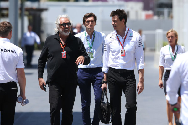Baku City Circuit, Baku, Azerbaijan. Saturday 24 June 2017. Flavio Briatore with Toto Wolff, Executive Director (Business), Mercedes AMG. World Copyright: Charles Coates/LAT Images ref: Digital Image AX0W9058