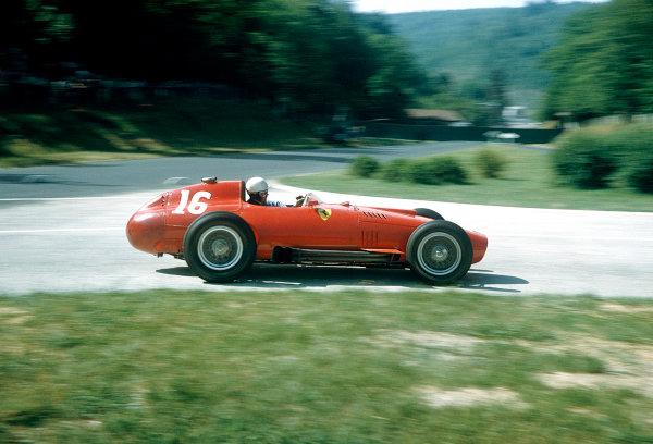 1957 French Grand Prix.Rouen-Les-Essarts, France. 5-7 July 1957.Maurice Trintignant (Lancia-Ferrari 801). Ref-57 FRA 26.World Copyright - LAT Photographic