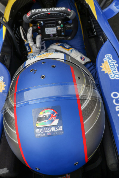 28-30 August, 2015, Sonoma, California USA Justin Wilson tribute decal on Marco Andretti helmut ?2015, Sam Cobb LAT Photo USA