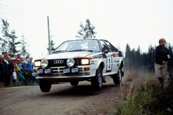 1000 Lakes Rally, Finland. 27-29 August 1982.Hannu Mikkola/Arne Hertz (Audi Quattro), 1st position, action.World Copyright: LAT PhotographicRef: 35mm transparency 82RALLY07