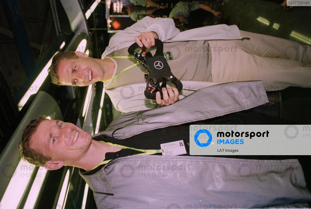 1998 Italian Grand Prix.Monza, Italy.11-13 September 1998.German footballers Oliver Bierhoff (left) and Jens Lehmann in the McLaren Mercedes-Benz garage at the Italian Grand Prix.World Copyright - LAT Photographic
