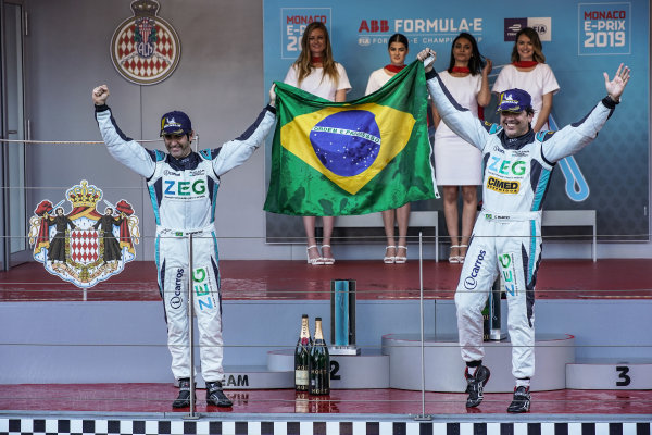 Teammates Cacá Bueno (BRA), Jaguar Brazil Racing and Sérgio Jimenez (BRA), Jaguar Brazil Racing celebrate their 1-2 on the podium
