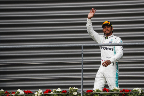Lewis Hamilton, Mercedes AMG F1, on the podium