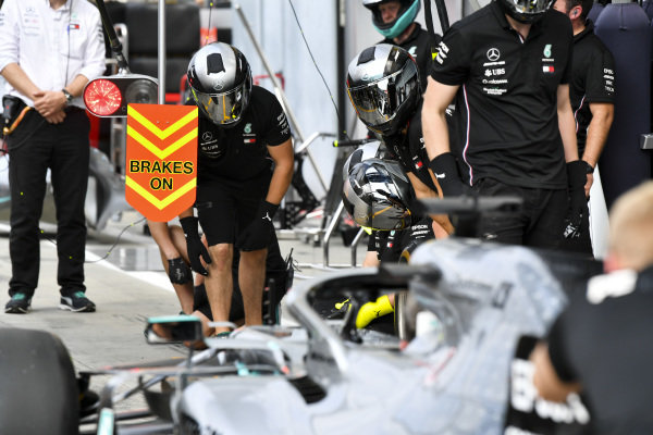 Mercedes pit stop practice with the Mercedes AMG F1 W10
