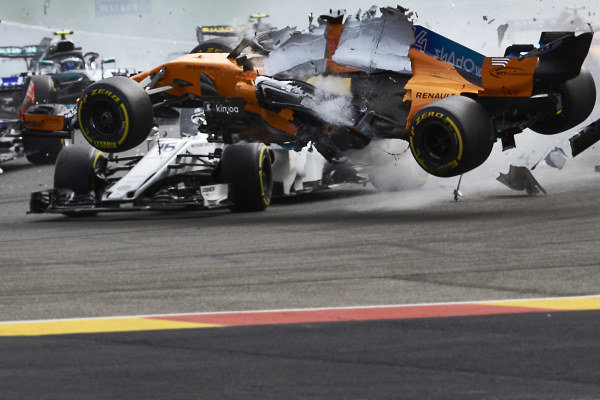 Nico Hulkenberg, Renault Sport F1 Team R.S. 18, Fernando Alonso, McLaren MCL33, and Charles Leclerc, Alfa Romeo Sauber C37, collide at the start of the race, causing retirements for each.