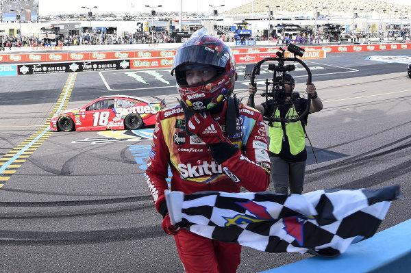 #18: Kyle Busch, Joe Gibbs Racing, Toyota Camry SKITTLES, celebrates after winning theTicketGuardian 500 in Phoenix.
