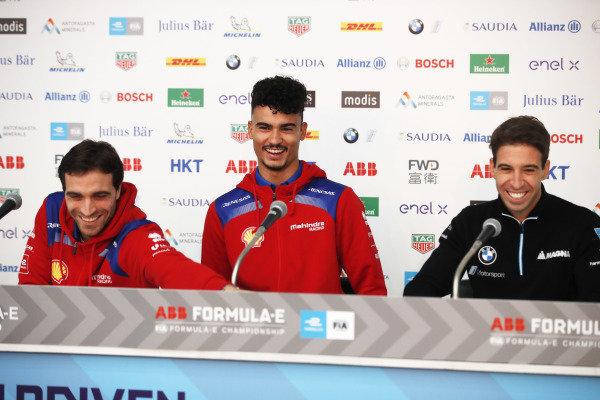Jérôme d'Ambrosio (BEL), Mahindra Racing, Pascal Wehrlein (DEU), Mahindra Racing and Antonio Felix da Costa (PRT), BMW I Andretti Motorsports in the press conference