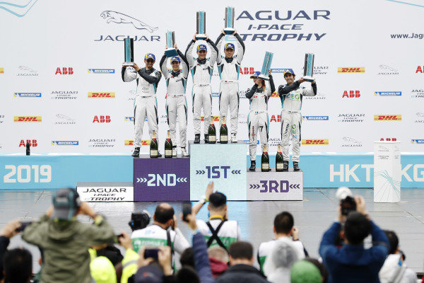 The PRO class (winner Bryan Sellers (USA), Rahal Letterman Lanigan Racing, Katherine Legge (GBR), Rahal Letterman Lanigan Racing, 2nd position, and Sérgio Jimenez (BRA), Jaguar Brazil Racing, 3rd position) celebrate on the podium with the PRO AM class (winner Yaqi Zhang (CHI), Team China, Bandar Alesayi (SAU), Saudi Racing, 2nd position, and Célia Martin (FRE), Viessman Jaguar eTROPHY Team Germany, 3rd position)