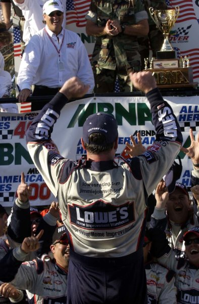 2002 NASCAR,Dover Downs,Sept 20-22, 20022002 NASCAR, Dover,Del . USA -Jimmie Johnson out of car,Copyright-Robt LeSieur2002LAT Photographic