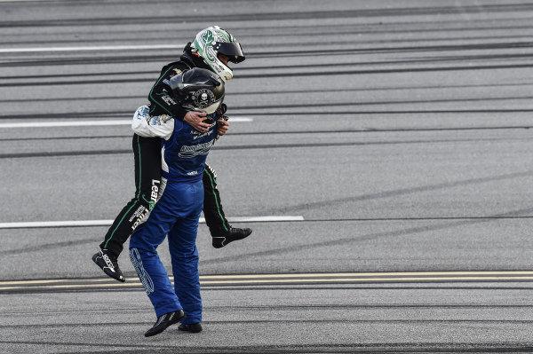 #11: Justin Haley, Kaulig Racing, Chevrolet Camaro LeafFilter Gutter Protection, wins at Talladega and celebrates with #16: A.J. Allmendinger, Kaulig Racing, Chevrolet Camaro Ellsworth Advisors
