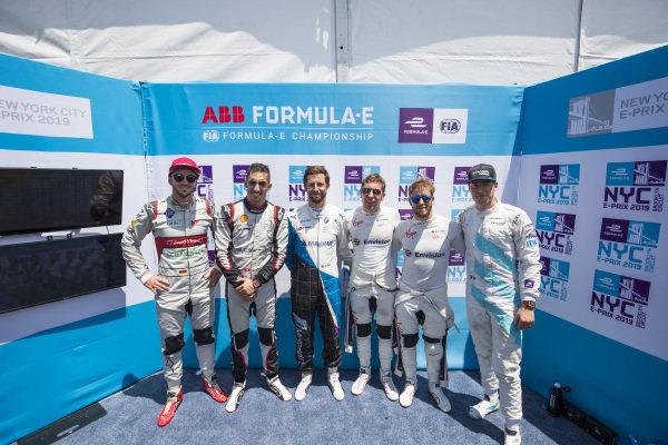 Daniel Abt (DEU), Audi Sport ABT Schaeffler, Sébastien Buemi (CHE), Nissan e.Dams, Alexander Sims (GBR) BMW I Andretti Motorsports, pRobin Frijns (NLD), Envision Virgin Racing, Sam Bird (GBR), Envision Virgin Racing and Stoffel Vandoorne (BEL), HWA Racelab, after super pole