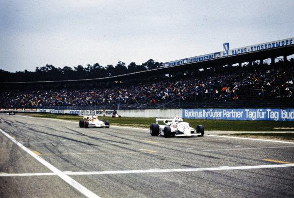 Fulvio Ballabio, Merzario M28 BMW/Mader, leads Philippe Alliot, Martini 001 BMW/Mader.