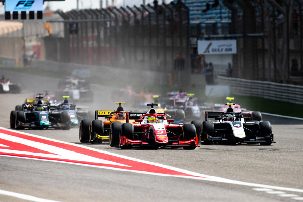 Mick Schumacher (DEU, PREMA RACING) leads the start of the F2 Sprint Race from Nyck De Vries (NLD, ART GRAND PRIX)