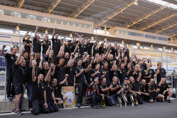 The Red Bull team celebrates its second consecutive constructors' championship.
