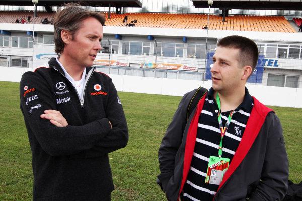 Prize winner for passenger rides with Kuba Giermaziak (POL) Verva Racing Team and Sam Michael (AUS) McLaren Sporting Director. Porsche Supercup, Rd6, Hockenheim, Germany, 20-22 July 2012.