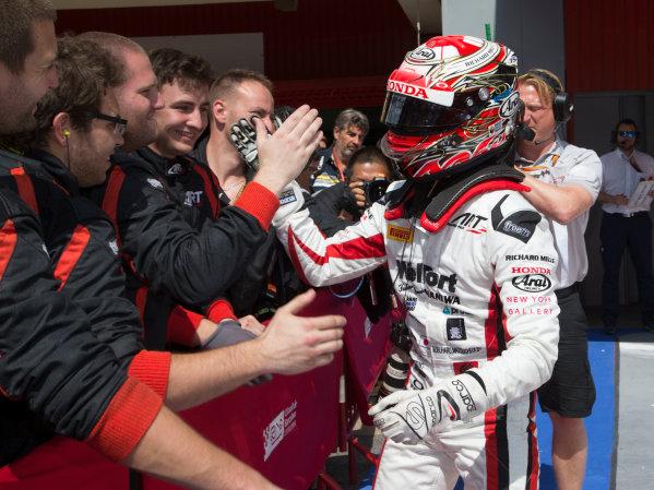 2017 FIA Formula 2 Round 2. Circuit de Catalunya, Barcelona, Spain. Sunday 14 May 2017. Race winner Nobuharu Matsushita (JPN, ART Grand Prix) celebrates victory Photo: Jed Leicester/FIA Formula 2. ref: Digital Image JL1_0361