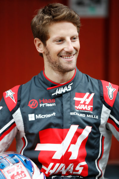 HAAS F1 Car Formula 1 Launch. Barcelona, Spain  Monday 27 February 2017. Romain Grosjean, Haas F1.  World Copyright: Dunbar/LAT Images Ref: _31I9999