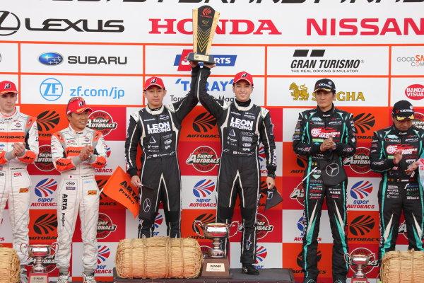 2017 Japanese Super GT Series. Motegi, Japan.  11th - 12th November 2017. Rd 8. GT300 Winner Haruki Kurosawa & Naoya Gamou ( #65  LEON CVSTOS AMG ) 2nd position Shinichi Takagi & Sean Walkinshaw ( #55 ARTA BMW M6 GT3 ) 3rd position Nobuteru Taniguchi & Tatsuya Kataoka ( #4 GOODSMILE HATSUNE MIKU AMG ) podium portrait World Copyright: Yasushi Ishihara/LAT Images ref: Digital Image 2017_SGT_Rd8_014