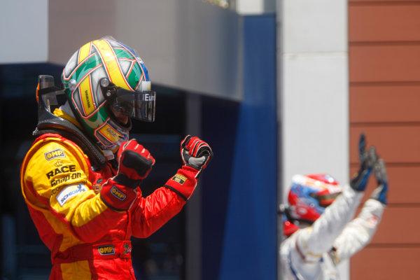 Sunday Race. 7th June 2009. Lucas Di Grassi (BRA, Fat Burner Racing Engineering) celebrates his victory. World Copyright: Alastair Staley/ GP2 Series Media Service.Ref: _O9T0994 jpg