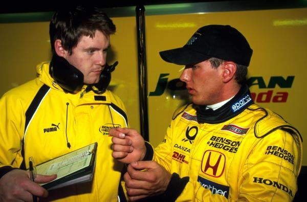 Marcel Lasee (GER) describes his debut Formula One test   to a  Jordan engineer.Formula One Testing, Barcelona, Spain, 27-31 January 2002.